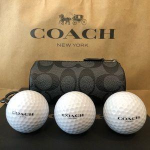 NWT Authentic Coach Signature Golf Ball Set
